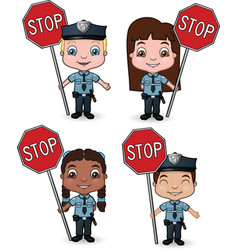 kid cops with stop signs vector image