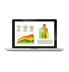 laptop with statistics chart vector image