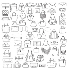 Large set of black and white doddle fashion vector image vector image