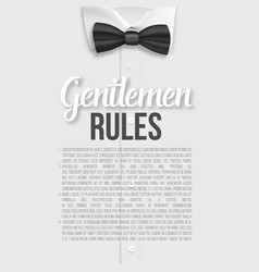 white shirt gentlemen rules list template vector image