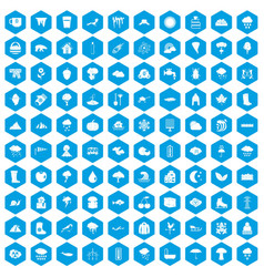 100 clouds icons set blue vector image