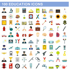 100 education icons set flat style vector