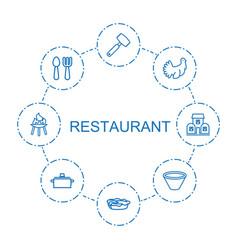 8 restaurant icons vector