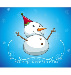 A blue christmas card template with a snowman vector image