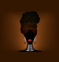African woman in traditional ethnic turban batik vector