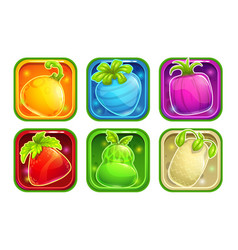 app icons with colorful glossy fantasy fruits vector image