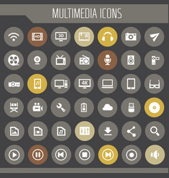 big multimedia icon set trendy flat icons vector image