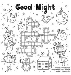 black and white crossword game for kids good vector image