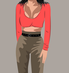 Black haired woman in red top and brown pants with vector