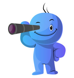 blue cartoon caracter with his monocular on white vector image