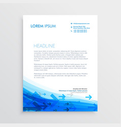 blue letterhead design template with arrows vector image