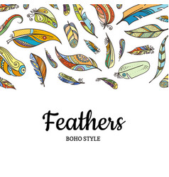 boho doodle color feathers background vector image