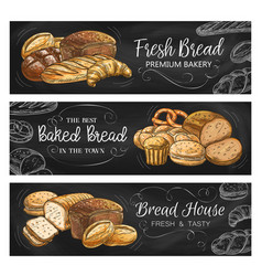 bread house and bakery chalkboard banners vector image