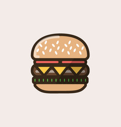 Burger sandwich with cheese and salad leaves vector