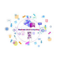 business cloud computing concept remote data vector image