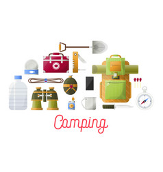 camping basic equipment set for hikers and vector image