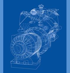 Car engine rendering of 3d vector