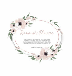 Card with flowers and geometrical frame floral vector