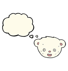 Cartoon polar bear face with thought bubble vector