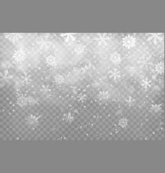christmas snowfall and snowflakes background vector image