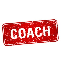 Coach red square grunge textured isolated stamp vector