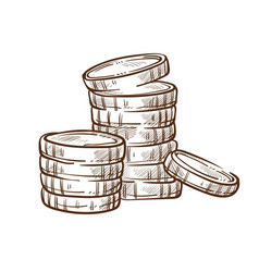 Coin stacks isolated sketch money and finance vector