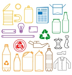 color separated waste outlines icons vector image