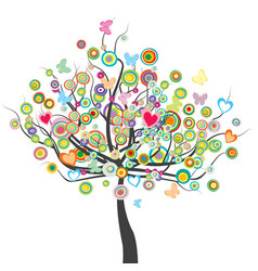 Colored tree with flowers butterflies and circle vector