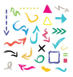 Colorful hand drawn curvy direction arrows icons vector
