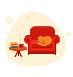 Concept cozy home and reading cute cat vector