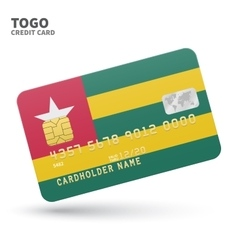 Credit card with Togo flag background for bank vector