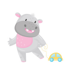 cute adorable hippo playing with toy car lovely vector image