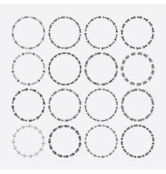 Cute black circle arrow border patterns set vector