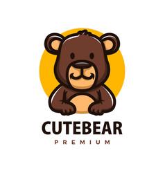 Cute brown bear cartoon logo icon vector