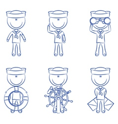 Cute sailors set vector image