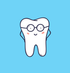 cute smiling tooth wearing glasses smart happy vector image