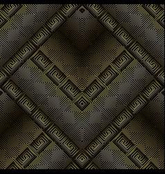dark 3d greek key meanders seamless pattern vector image