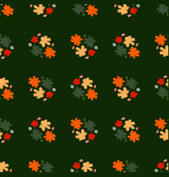 Dark decorative contrast seamless pattern with vector