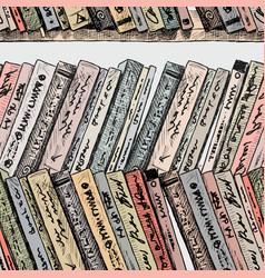 Different old books on bookshelves vector