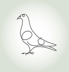 Dove in minimal line style vector