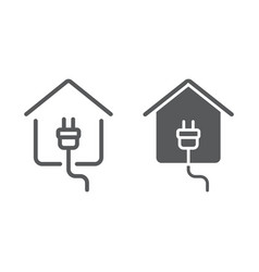 Electricity home line and glyph icon real estate vector