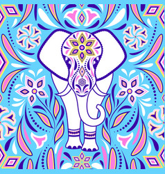 elephant and abstract flowers vector image