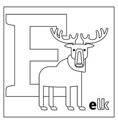 Elk letter e coloring page vector