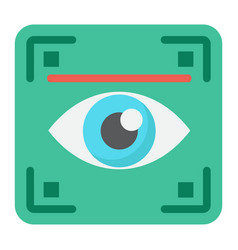 eye scan flat icon security and iris scanner vector image