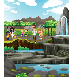 family visiting zoo at day time vector image