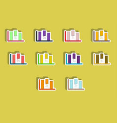 Flat icons set column chart concept in paper vector