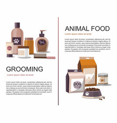 food and grooming for pets vector image