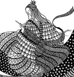 Girl who sews 380x400 vector