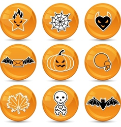 Glossy Halloween icons vector