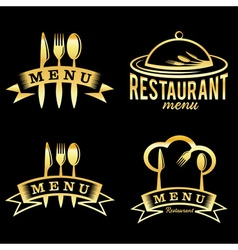 golden restaurant and menu elements set vector image